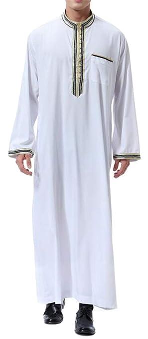 OTW Men Casual Stand Collar Long Sleeve Printed Muslim Arab Thobe Caftan