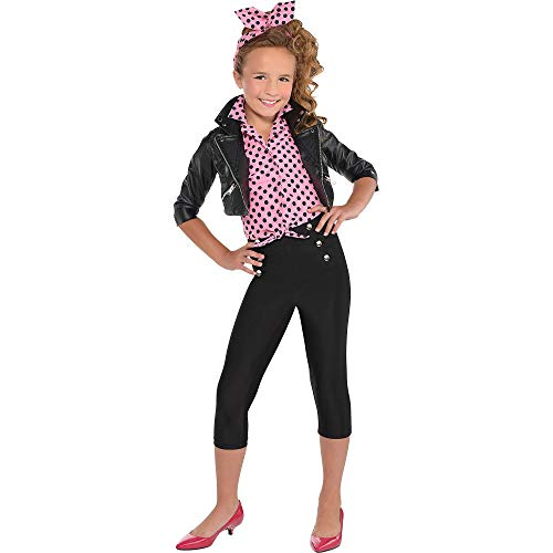 AMSCAN Pink Rockabilly Halloween Costume for Girls, Large with Included Accessories]()