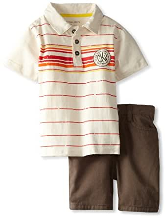 Calvin Klein Baby Boy's Stripe Polo Shirt With Shorts, White, 12 Months