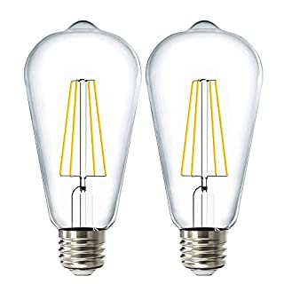 Sunco Lighting 2 Pack ST64 LED Bulb, Dimmable, Waterproof, 8.5W=60W, 6000K Daylight Deluxe, Vintage Edison Filament Bulb, 800 LM, E26 Base, Restauarant or String Lights - UL