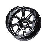 STI 4/110 HD4 Alloy Wheel 12x7 5.0 + 2.0 Gloss Black for Honda Rancher 420 4x4 DCT 2014-2018