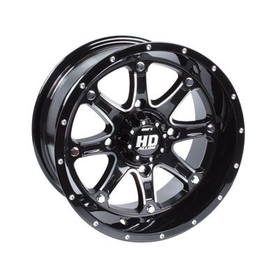 STI 4/110 HD4 Alloy Wheel 12x7 2.0 + 5.0 Gloss Black for Honda TRX 250 RECON ES 2002-2009 by STI