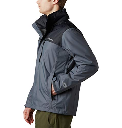 Columbia Men's Pouration Waterproof Rain Jacket, Graphite/Black, Large