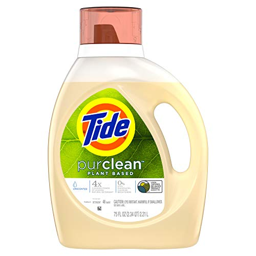 Tide Purclean Liquid Laundry Detergent for Regular and HE Washers, Unscented, 75 Fluid Ounce (Packaging May Vary)