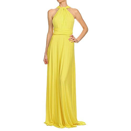 Comeon Evening Dress Maxi Dress Multi-Way Wrap Camisoles Halter Maxi Floor Long Dress High Elasticity Prom Dresses Night (Yellow Halter Gown)