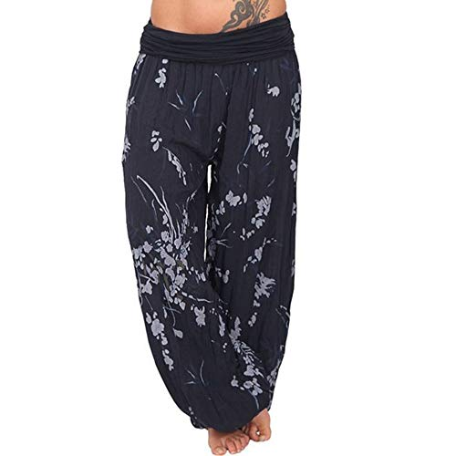 (GOVOW Loose Pants for Women Elastic Waist Plus Size Print Casual Pants Cropped Full Length)