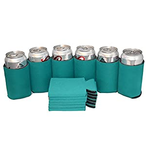 Premium Blank Can Coolers Sleeves Soft Drink Collapsible Insulator Coolers (12, Teal)