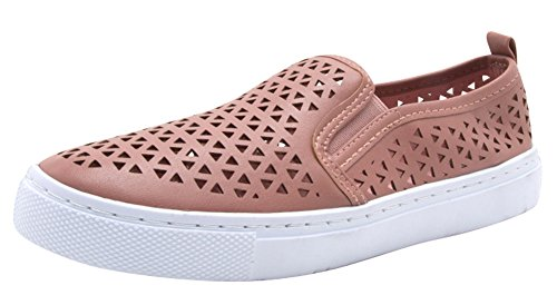 Cambridge Select Womens Closed Round Toe Laser Cutout Stretch Slip-On Flatform Fashion Sneaker Mauve Pu QQLwnqKml