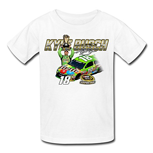 Youth KYLE BUSCH No. 18 2015 SPRINT CUP CHAMPION T-Shirt - White