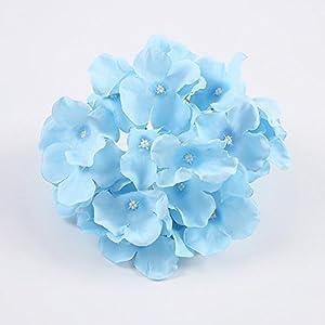 MEIHON 10pcs/lot Colorful Decorative Flower Head Artificial Silk Hydrangea DIY Home Party Wedding Arch Background Wall Decorative Flower (light blue) 86