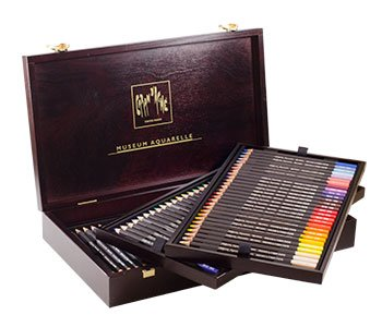 Caran D'ache Museum Aquarelle Watercolor Pencils - 72 Colors in a Wood Box (3510.476) by Caran d'Ache