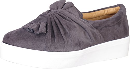 Boat Sneaker (Catherine Malandrino Women\'s Knotted Slip-On Fashion Sneakers, Grey Suede, Size 9 B(M) US')
