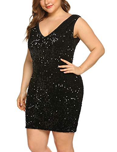 (IN'VOLAND Womens Sequin Dresses Plus Size Sexy Party Cocktail Bodycon Formal Prom V Neck Summer Sleeveless Dress Black)