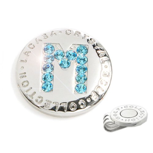 Elixir Golf Crystal Golf Ball Marker with Hat Clip, Initial M