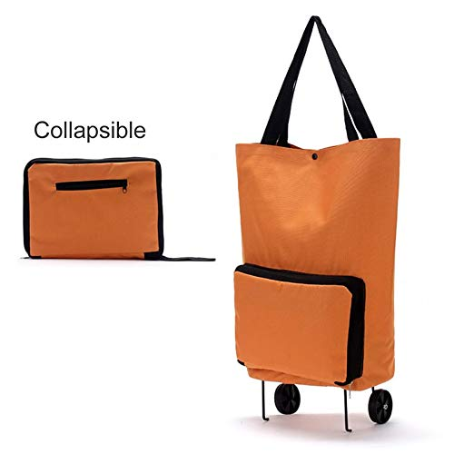 Surobayuusaku Large Thickened Canvas Lightweight Foldable Shopping Trolley Wheel Bag