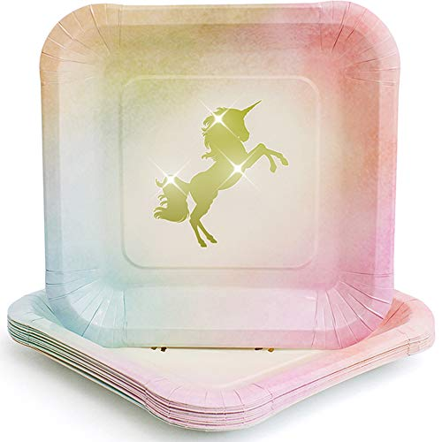 Praity Square Paper Unicorn Themed Plates Set: 16-Pack Waterproof Gold Foil Unicorn Party Supplies | Deluxe Party Plates from Thick Paper | Disposable Plates for Birthday, Kids Party & More (9 Inch)