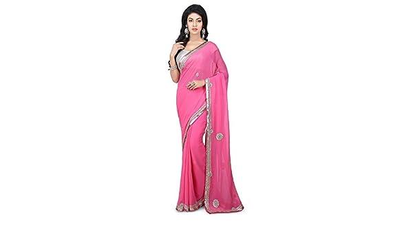 35f4ab118efb84 Amazon.com: Utsav Fashion Gota Patti Embroidered Georgette Saree in Pink:  Clothing