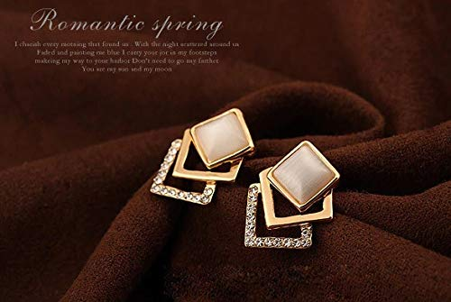 GuvenBize Square Crystal Stud Earrings for Women Girl Wedding Jewelry for Women for Girls Fine Jewelry Stud Earrings
