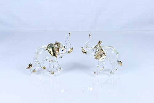 Hand Blown Glass Painting Handmade Decorations for Homes, Office,party. Elephant Art Glass (2 Pcs.)