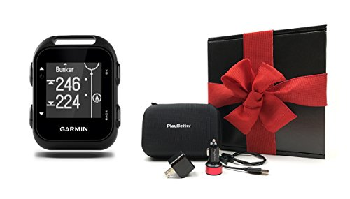 (PlayBetter Garmin Approach G10 Gift Box | Bundle Includes Handheld Golf GPS, USB Car & Wall Charging Adapters, Garmin Carrying Case | Black Gift Box, Red Bow)