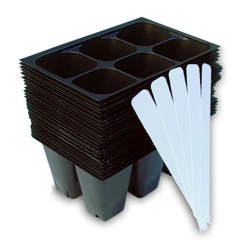 seedling-starter-trays-144-cells-24-trays-6-cells-per-tray-plus-5-plant-labels-by-industry-standard-