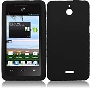 Importer520 Premium Silicone Gel Skin Phone Protector Cover Case for Straight Talk HUAWEI Ascend Plus H881c (Black)