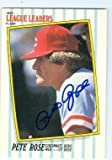 Pete Rose autographed baseball card (Cincinnati Reds) 1987 Fleer #37 League Leaders