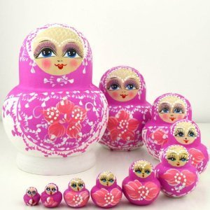 NuoYa001 Set of 10 Cute Wooden Nesting Matryoshka Madness Russian Dolls