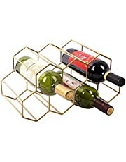 Tabletop Wine Rack,Metal Black Brushed Geometric Designed Bottle Holder, Perfect for Home Decor, Bar, Wine Cellar, Basement, Cabinet, Pantry,7 Bottle Wine Storage Stand