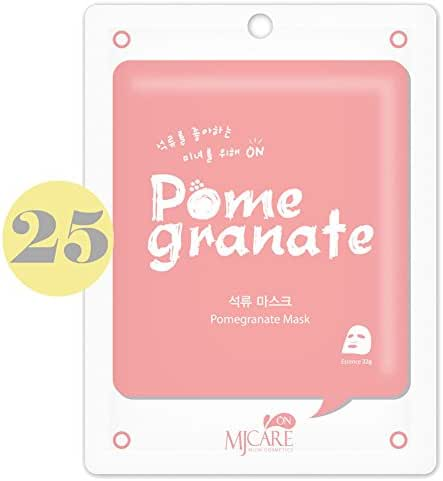 Pack of 25, The Elixir Beauty Korean Cosmetics MJ On Collagen Essence Full Face Facial Mask Sheet, Pomegranate Essence
