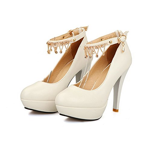 AgooLar Women's Round Closed Toe High-Heels Soft Material Solid Buckle Sandals White gXbmSXjin