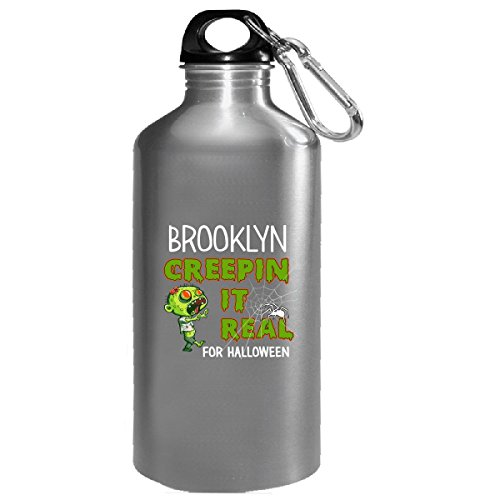 Brooklyn Creepin It Real Funny Halloween Costume Gift - Water Bottle -