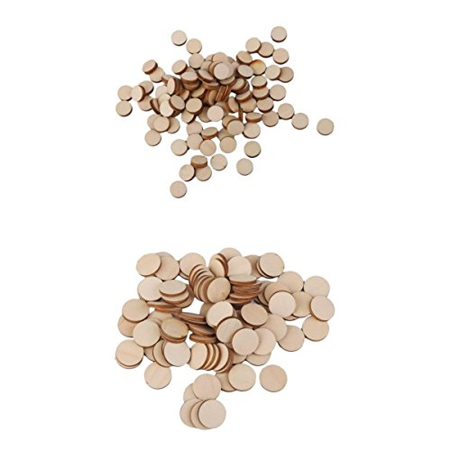 MagiDeal 200 Pieces Wood Circles Unfinished Round Discs Blank Wooden Cutout Slices Discs 10mm 20mm Diameter DIY Arts Crafts Hobbies Pyrography for Book Signing Sunday School Birthday Game Boards
