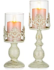 Nuptio Pcs of 2 Vintage Metal Pillar Candle Holder Antique Hurricane Candlestick with Glass Screen Cover Accent Display for Home Wedding Candlelight Dinner Decoration (S+L)