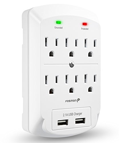 Fosmon 6 Outlet USB Surge Protector, 3-Prong Wall Mount Adapter Tap with 2 Dual USB Port Charger 2.1A Quick Charging, 1875 Watts Indoor, Grounded, ETL Listed