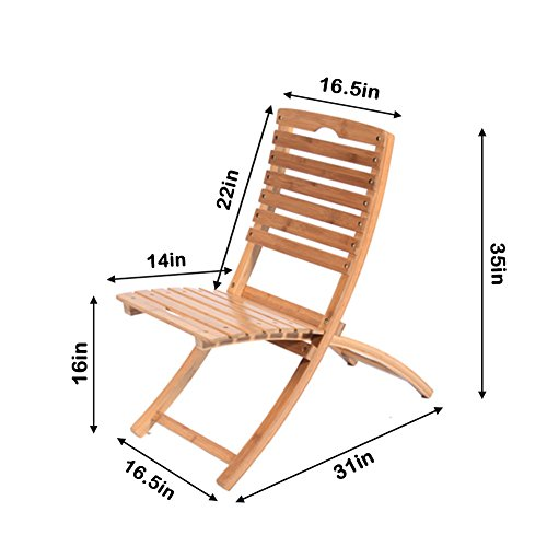 [Hans&Alice Bamboo Portable Folding Reclining Outdoor Chairs with Nature Finish (box of 2 chairs)] (Bamboo Living Room Folding Chair)