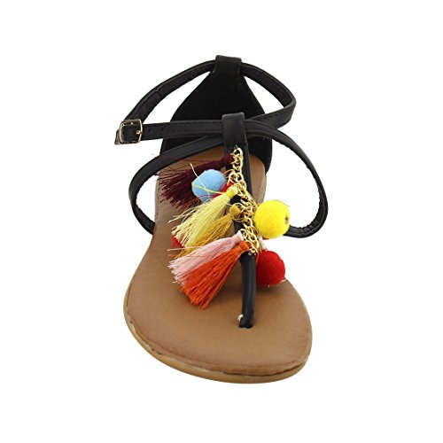 Forever Ie62 Mujer's Bohemian Festival Tassel Hebilla T-strap Sandalia Negro