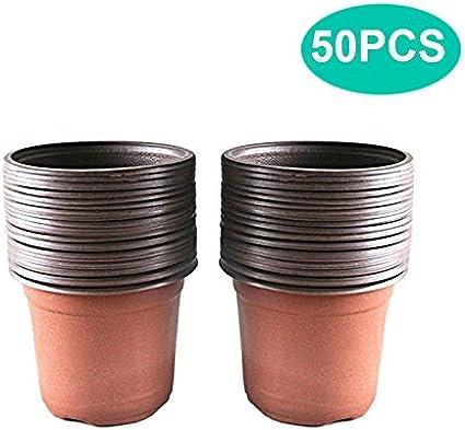 50 unids macetas de plástico de 15 cm para as plantas o flores contenedor de semillas