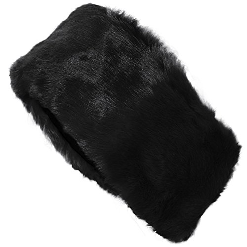 FUNOC New Ladies Womens Luxury Faux Fur Headband Winter Ski Ear Muffs Earwarmers Hat (Black)