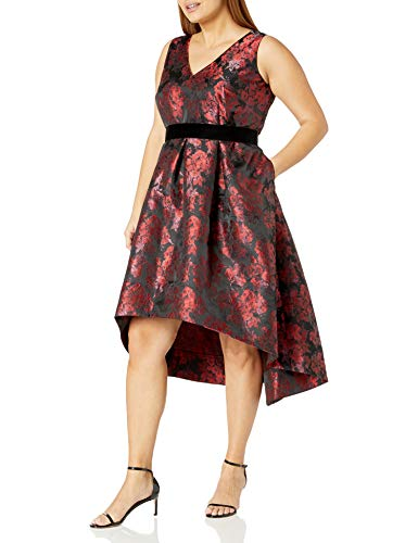 Eliza J Women's Plus Size Floral Fit and Flare Dress, Black/Red, 16W