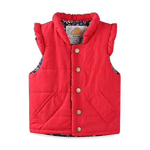 Mud Kingdom Toddler Girls Vests Outerwear Lightweight Cute Floral 2T Red