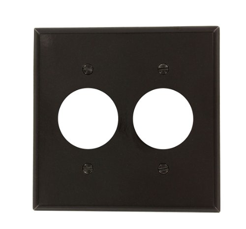 Leviton 85052 2-Gang Single 1.406-Inch Hole Device Receptacle Wallplate, Standard Size, Thermoset, Device Mount, Brown
