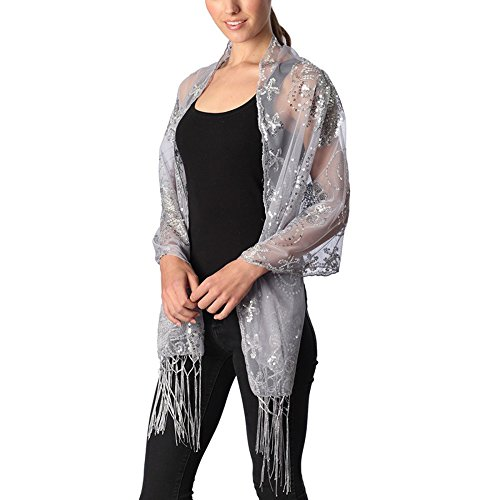Women's Abstract Floral Sequin Decor Evening Wrap Shawl Party Scarf with Tassel (Silver Grey)