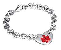 "Womens Medical Alert ID Bracelets Stianless Steel Curb Chain Heart Charms Bangle Bracelets£­Free Lettering,8.2"" from BBX JEWELRY"