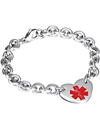 Womens Stianless Steel Medical Alert ID Bracelets with Heart Charms Bracelets-Free Engraving