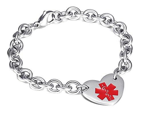Womens Medical Alert ID Bracelets Stianless Steel Curb Chain Heart Charms Bangle Bracelets£Free Lettering,8.2