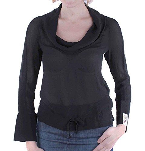 Diesel chemisier pour femme en soie nel tunique à manches longues noir taille xS - 10