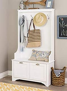 Hall Trees with Bench and Coat Racks - White Wood with Shaker Doored Cabinets - Organizing