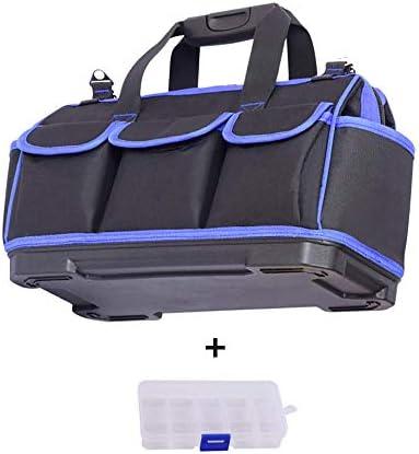 工具バッグヘビーデューティ複数ポケット、プラスチック底ポータブルオックスフォード布袋ツールボックス付きハードウェアツールバッグ収納用ツール