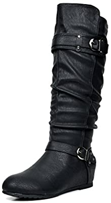 DREAM PAIRS Women's Fashion Casual Slouchy Knee High Double Buckle Low Hidden Wedge Boots (Wide Calf Available)